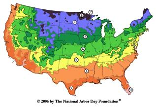 Hardiness Zones from ArborDay.org